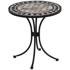 Black and Gray Marble Tile Outdoor Bistro Table