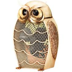 Fan Snow Owl Figurine Decorative Desk Fan