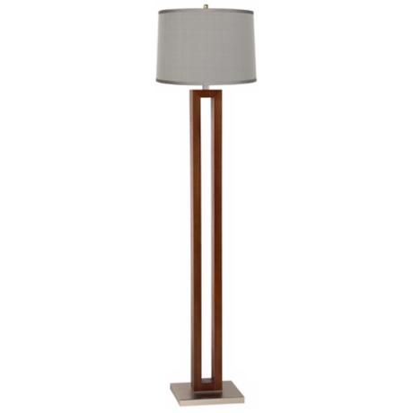 Platinum Gray Dupioni Rectangle Walnut Floor Lamp