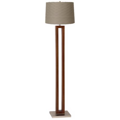 Taupe Pleated Waves Walnut Rectangle Floor Lamp
