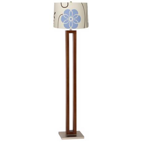 Blue and Brown Floral Walnut Rectangle Floor Lamp