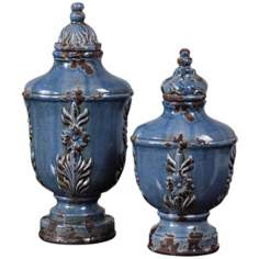 Uttermost Set of 2 Eilam Leaf Pale-Blue Containers