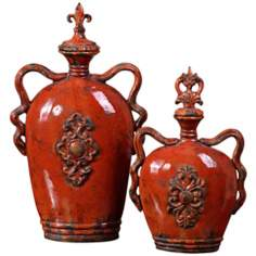 Uttermost Set of 2 Raya Emblem Burnt-Orange Containers