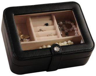 Mele & Co. Rio Black Faux Leather Jewelry Box (T1634)