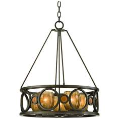 "Soleil Collection Sunrise Amber 22 3/4"" Wide Pendant Light"
