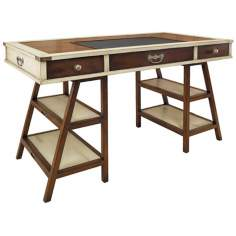 Navigator's Ivory and Woodgrain Desk