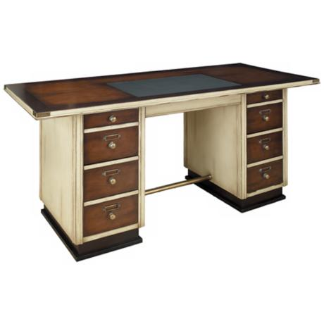 Ivory and Black Wood Captain's Desk