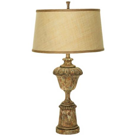 Aged Wood Finish Urn Table Lamp