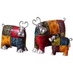 Uttermost Set of 3 Silver-Accented Colorful Cows