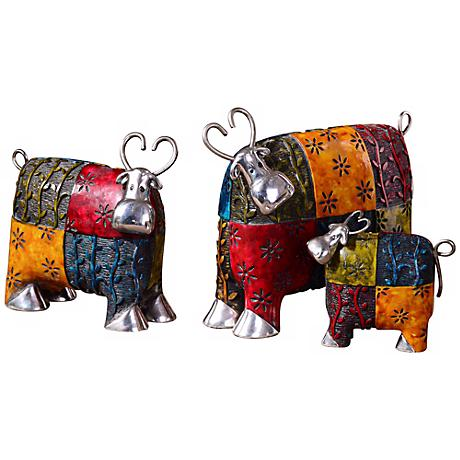 "Uttermost Set of 3 Silver-Accented 10"" Wide Colorful Cows"