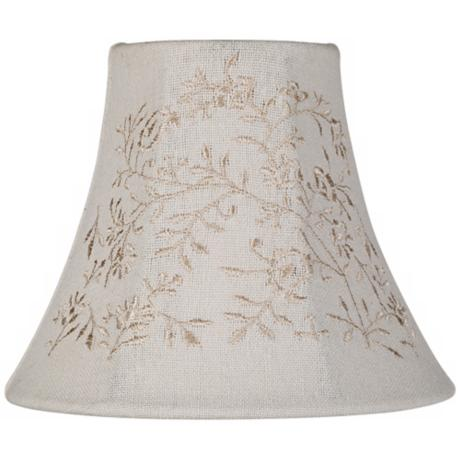 Linen Shade with Cream Floral Embroidery 3x6x5 (Clip-On)