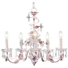 "Pink Flower and Crystal 20"" Wide Chandelier"