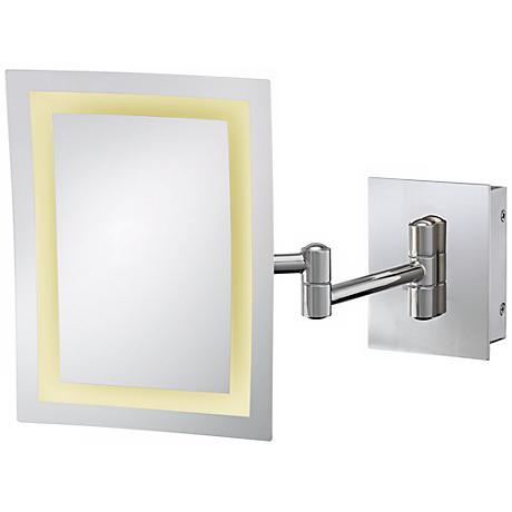 Aptations Rectangle Polished Nickel LED Hardwire Wall Mirror