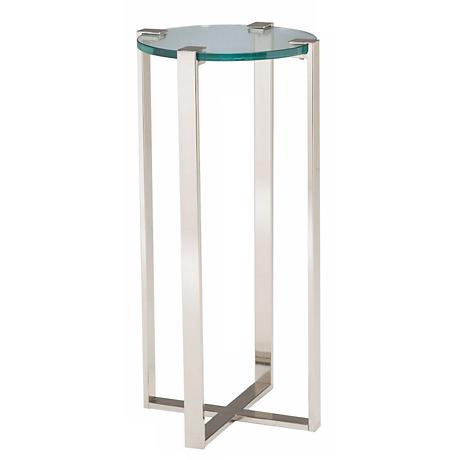 Uptown Polished Nickel & Glass Plant Stand