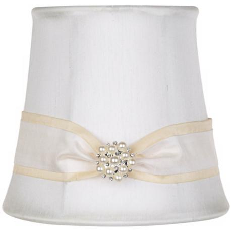 White Fabric Pearl Ribbon Shade 4x5.5x5 (Clip-On)