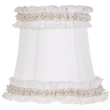 White Fabric With Bead Trim Shade 4x5.5x5 (Clip-On)