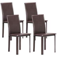 Set of 4 Zuo Arcane Espresso Leatherette Dining Chairs