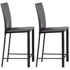 "Set of 2 Zuo Arcane Black Leatherette 30"" High Bar Stools"