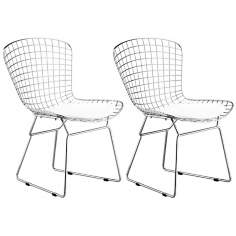 Zuo Wire Set of Two Chrome Dining Chairs