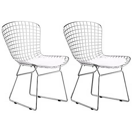 Zuo Wire Indoor-Outdoor Chrome Dining Chair Set of 2