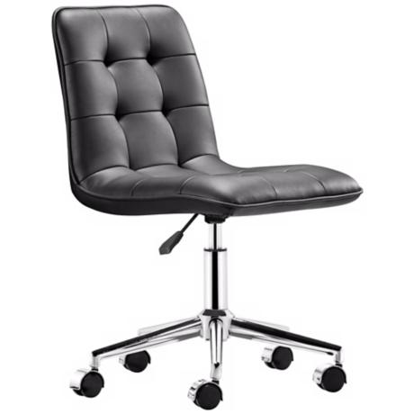 Zuo Scout Black Armless Office Chair