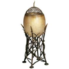 Hand-Made Antique Gold Bird's Nest Accent Table Lamp