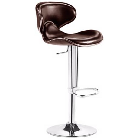 Zuo Fly Brown Adjustable Modern Bar Stool or Counter Stool