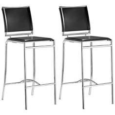 "Set of 2 Zuo Soar Black 28 1/2"" High Bar Stools"
