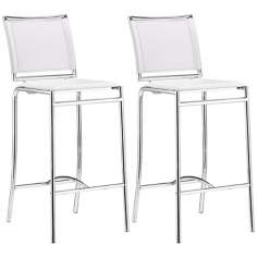 "Set of 2 Zuo Soar White 28 1/2"" High Bar Stools"