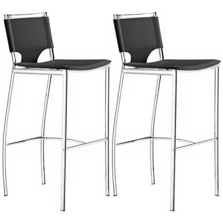 "Set of 2 Zuo Lark 30"" High Black Bar Stools"