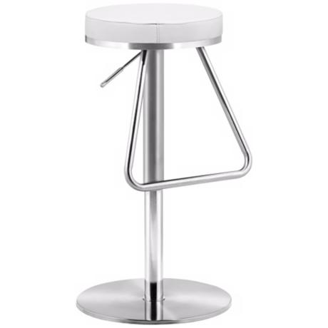 Zuo Soda White Adjustable Height Bar or Counter Stool