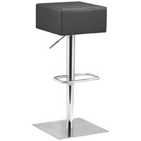 Zuo Butcher Black Adjustable Height Bar or Counter Stool