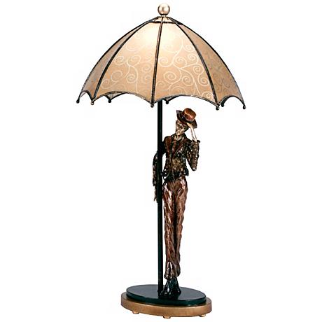 Hand-Made Umbrella Man Accent Table Lamp