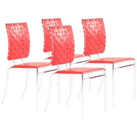 Zuo Set of 4 Criss Cross Red Dining Chairs