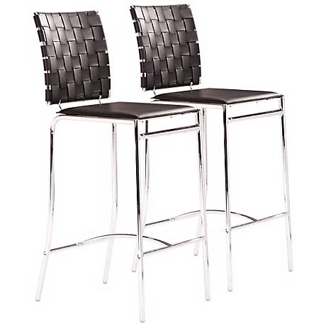Set of 2 Zuo Black Criss Cross Modern Counter Stool
