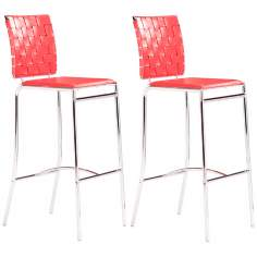 Set of 2 Criss Cross Counter Stool Red