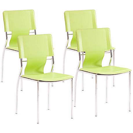 Zuo Set of 4 Trafico Side Green Chair