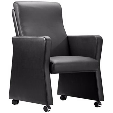Zuo Burl Black Leatherette Arm Chair