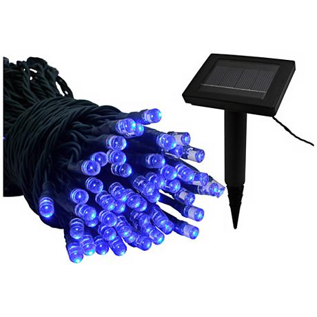 Led String Lights Long : Solar Powered 22 Foot Long Blue LED String Lights
