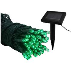 Solar 22 Foot Long LED Green String Lights