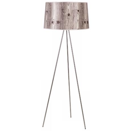 Lights Up! Weegee Nickel Faux Bois Light Shade Floor Lamp