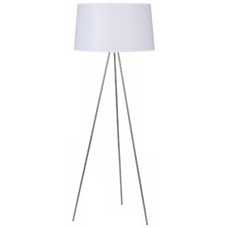 Lights Up! Weegee Nickel With White Linen Shade Floor Lamp