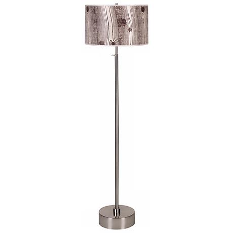Lights Up! CanCan Faux Bois Shade Adjustable Floor Lamp