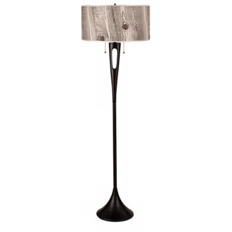 Lights Up! Soiree 2-Light Faux Bois Shade Floor Lamp