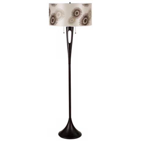 Lights Up! Soiree 2-Light Tan Cornflower Shade Floor Lamp