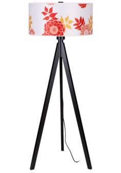 Lights Up! Woody Black Anna Red Shade Floor Lamp