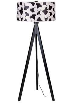 Lights Up! Woody Black Ginko Leaf Shade Floor Lamp