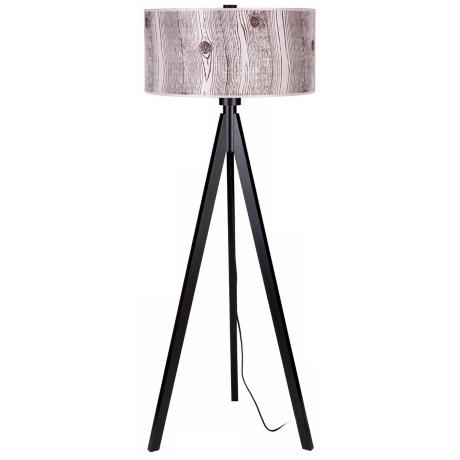 Lights Up! Woody Black Faux Bois Light Shade Floor Lamp