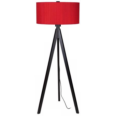 Lights Up! Woody Black Red Dupioni Silk Shade Floor Lamp