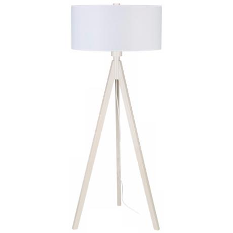 Lights Up! Woody Pickled White Linen Shade Floor Lamp